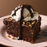 chocowalnut brownie with ice cream