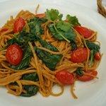 <<<linguini made with chipotle with mushrooms, spinach and grape tomato aglio-olio