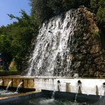 A waterfall at the fish farm of Taverna Votomos, the taverna which was part of the hotel