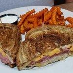 Ruben sandwich and sweet potato fries