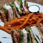 Turkey club and sweet potato fries