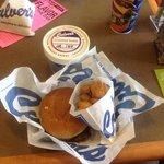Mushroom swiss butterburger, fried cheesecurds and froze custard.