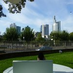 Art pieces in the garden of Staedel museum & view