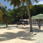 Le restaurant la Biguine à la droite de la photo sur la plage les pieds dans l'eau