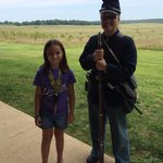 Park Ranger showing a demo of a Springfield 1851 rifle and Union Uniform. Great demo.