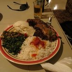 Beef and vegetable plate with ugali and rice