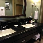 very nice and spacious bathroom with double sinks