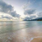 Ocean front area of Tiki Moon VIllas on calm morning