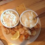 Grilled shrimp, cheese grits and slaw