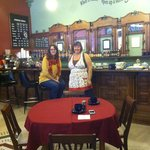 Wife Robin and host Shelley in Cafe