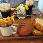 Wonderful cod sandwich with shrimp salad on top (and of course a pint of Guinness).