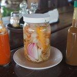 salsa picante, pickled veg and salsa Lizano