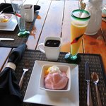 Fruit smoothie, coffee and oj