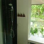 Shower with steam bath, Rain shower and regular shower