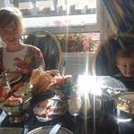 Our children enjoying Brekkie at Hotel Norfolk