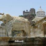 Carved elephant and Roothi Rani ka Mahal