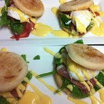 Eggs Benedict with English Muffins topped with Parma Ham or Bacon