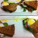 Eggs Benedict with Brown Toast, topped with Parma Ham or Bacon