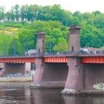 Bridge with Soviet symbols