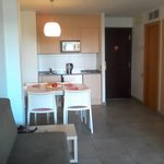 from the living area to the kitchenette