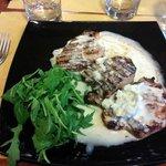 main dish with gorgonzola sauce