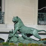 Superb cast bronze tiger sculptures, modeled after those at the Tuileries Gardens in Paris.
