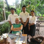 With breakfast staff