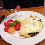 Egg white omelet with fresh fruit.
