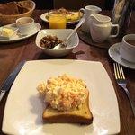 Salmon & scrambled egg on brioche breakfast