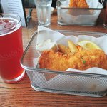 Raspberry wheat ale + fish & chips (perfect lunch!)