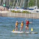 girls paddleboarding