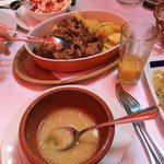 Our lunch: veal soup and long cooked stew from veal