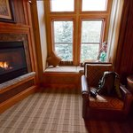 Nice fireplace.  Teenagers find the window seat a good place to call friends