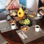 cedar room has table in it. Breakfast served in your room