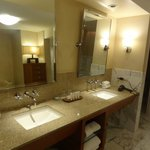 Double sinks in spacious bathroom.