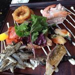 Fish Platter from the bar menu - main course portion! Devine!!!!!