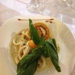 Calamars piégés façon spaghetti a la carbonara
