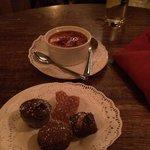 Creme brûlée and complimentary chocolates