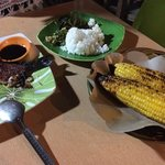 red snapper with steamed rice and corn
