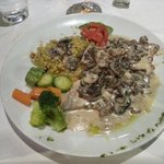 Veal with a parmesan cheese sauce; Yum!