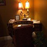 Sitting/living room desk. Dark room