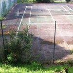 Terrain de tennis laissé à l'abandon