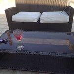 """Tatty garden furniture at the """"bar"""""""