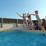 Cooling down on the hotel's roof plunge pool