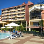 Hotel rooms view from pool area