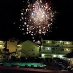 Watching weekly fireworks from the balcony of cottage