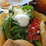 Tostada salad with carne asada