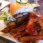 Fish sandwich & Fries sorry I was hungry only half there! lol