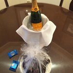 Champagne and chocolate covered strawberries.
