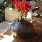 Tropical floral arrangement in patio 1
